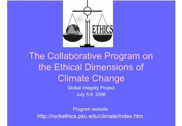 The Collaborative Program on the Ethical Dimensions of Climate ...