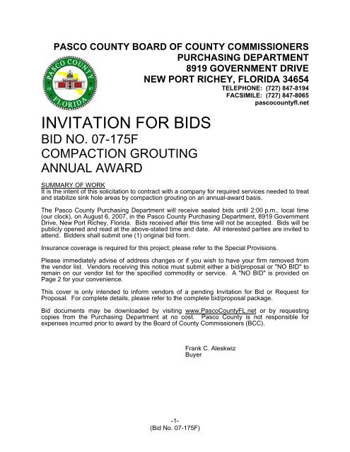Super Invitation For Bids Pasco County Government Home Remodeling Inspirations Propsscottssportslandcom