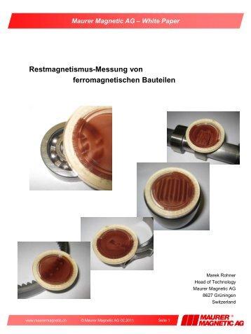 Restmagnetismus Messungen von ferromagnetischen Bauteilen