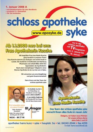 Ab 1.1.2008 neu bei uns: Frau Apothekerin ... - Schloss Apotheke Syke