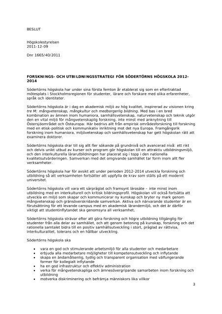 Kvalitetshandboken 2012-2014 dboken - Södertörns högskola