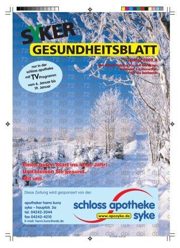 GESUNDHEITSBLATT 1. Januar 2007 A - Schloss Apotheke