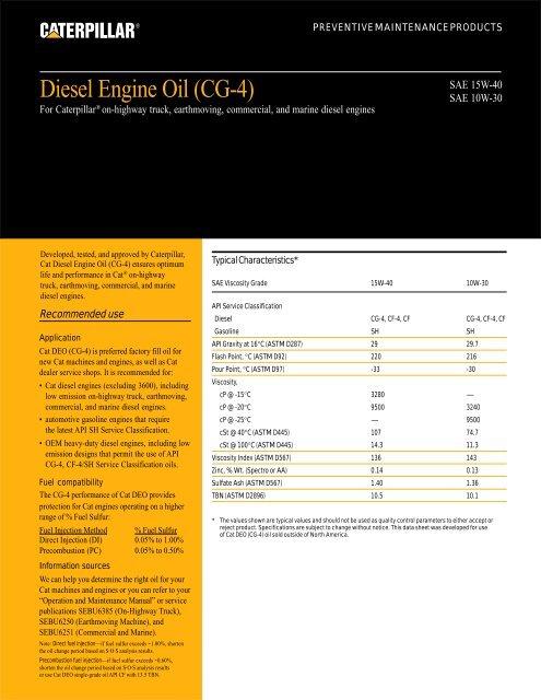 Diesel Engine Oil (CG-4) - Toromont CAT