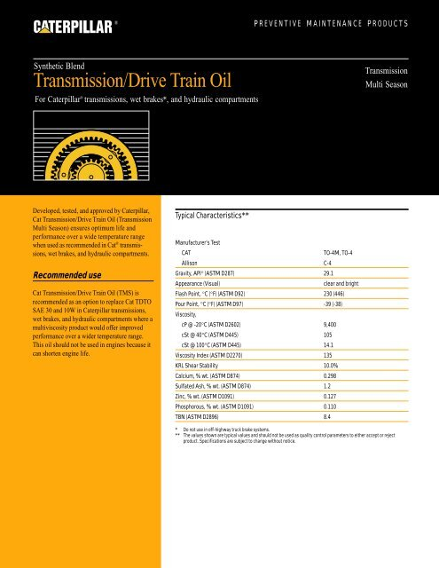 Transmission Drive Train Oil - Synthetic - Toromont CAT