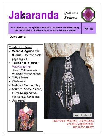 No 75 Quilt news Kwiltnuus - Jacaranda Quilters' Guild