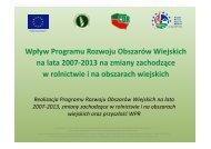 Wpływ Programu Rozwoju Obszarów Wiejskich na lata 2007-2013 ...
