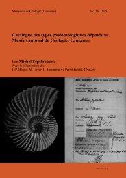 Catalogue des types paléontologiques déposés au Musée cantonal ...