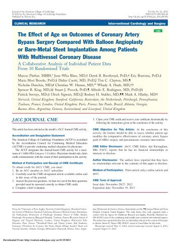 The Effect of Age on Outcomes of Coronary Artery ... - Centro CECI