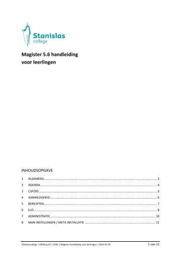 Magister 5.6 handleiding voor leerlingen - Stanislas College