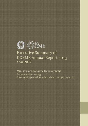 Executive Summary of DGRME Annual Report 2013 - Unmig