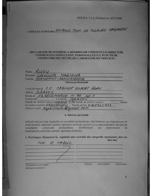 Ec. Rusu Lavinia Mariana - Spitalul Municipal Fagaras
