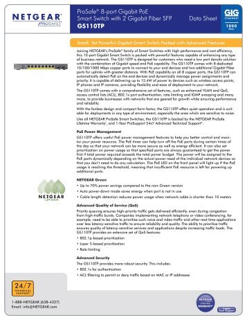 ProSafe® 8-port Gigabit PoE Smart Switch with 2 Gigabit ... - Netgear