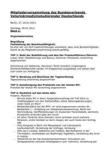 Mitgliederversammlung des Bundesverbands - Fachschaft Vetmed ...