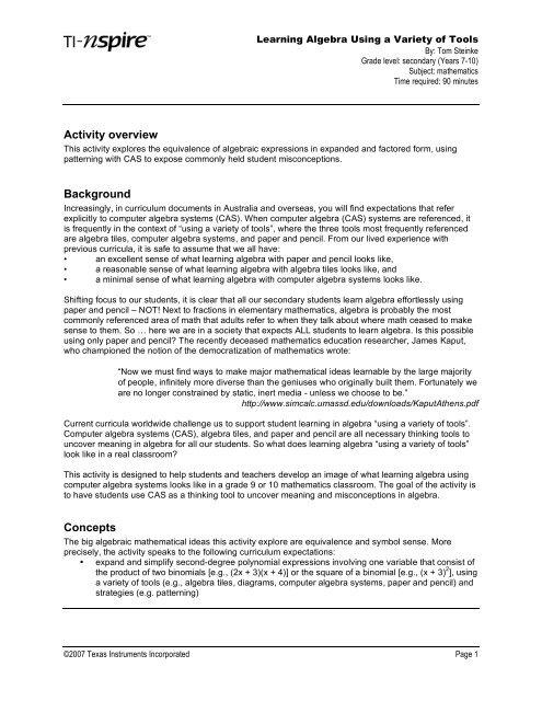Activity 7: Algebra Tools - Compass Learning Technologies