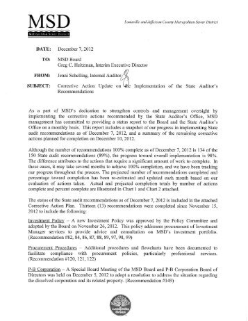 MSD's Corrective Action Update Dated 12/7/2012