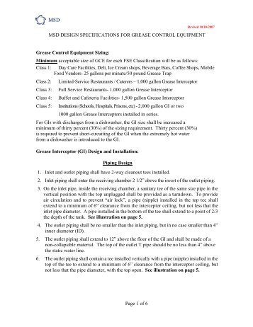 MSD Design Specifications for Grease Control ... - Project WIN