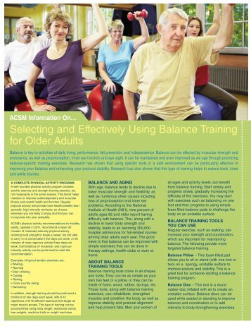 Selecting and Effectively Using Balance Training for Older Adults