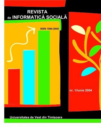 REVISTA de INFORMATICĂ SOCIALĂ - Journal of Social Informatics ...