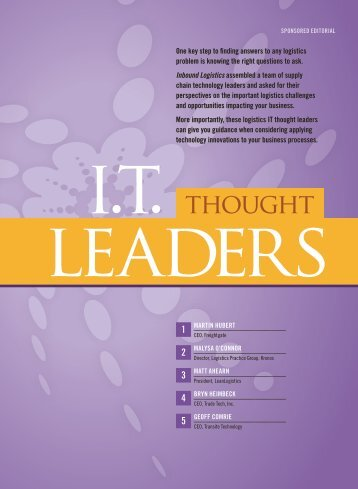IT Thought Leaders | July 2011 - Inbound Logistics