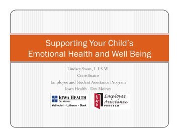 Supporting Your Child's Emotional Health and Well Being