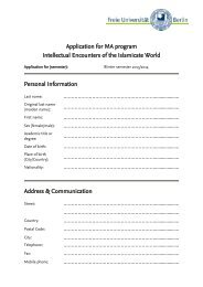 application form - Intellectual History of the Islamicate World