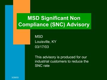 MSD/Customer SNC Advisory
