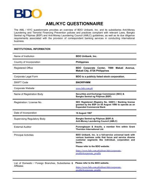 bdo aml/kyc questionnaire