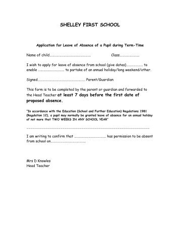Absence Request Form  Text