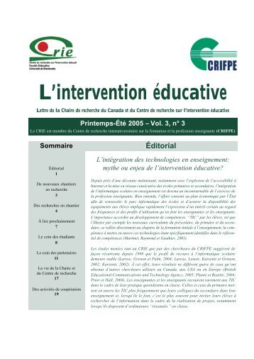 Vol. 3 no 3 - Centre de recherche sur l'intervention éducative (CRIE)