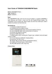 User Guide of TONGSHI DAB/DMB/FM Radio