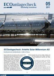 ECOanlagecheck: Anleihe Solar Millennium AG