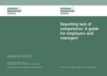 NMC guide for employers on reporting lack of competance