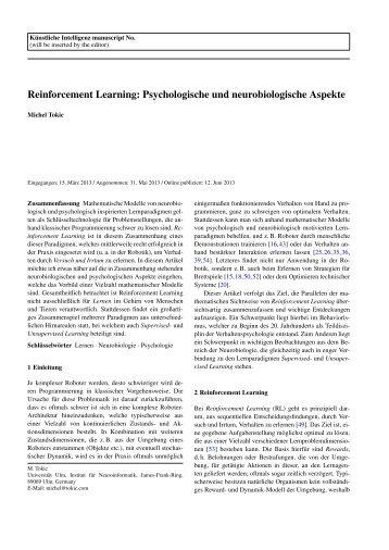 Reinforcement Learning: Psychologische und ... - Tokic