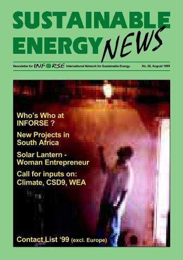 SEN 26 - International Network for Sustainable Energy