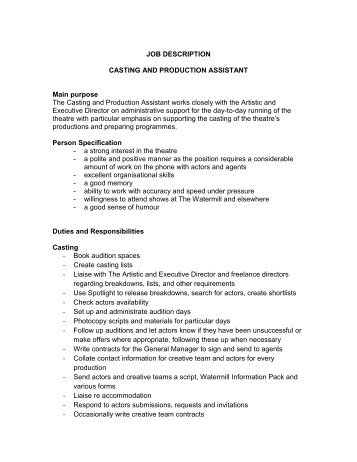 Production Manager Job Descriptionproduction Job Description Good Ideas