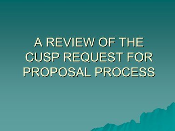 A REVIEW OF THE CUSP REQUEST FOR PROPOSAL PROCESS