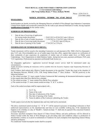 Tender_Notice NIT 47 Roads - West Bengal Agro Industries ...