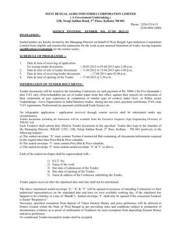 Tender_Notice NIT 47 Roads - West Bengal Agro Industries ...