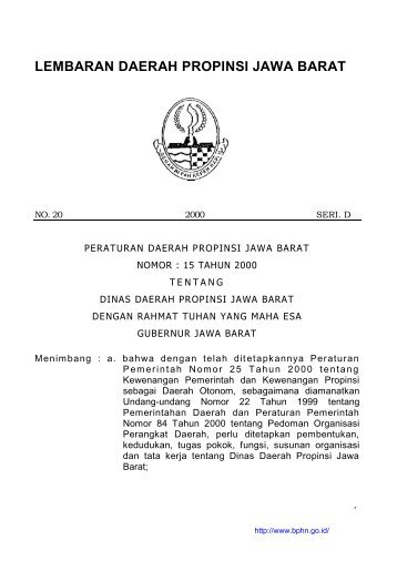 Peraturan Daerah Provinsi Jawa Barat Nomor 15 Tahun 2000