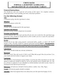 Use the following format: CHEM 164/261 FORMAL LAB REPORT ...