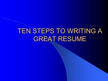 steps to writing a resume Follow these five steps and your resume will be ready for your job search step one: update your contact information  writing the perfect resume has never been easier.