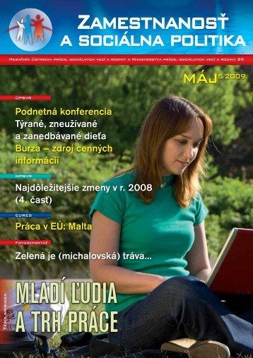 2009 05 Zamestnanost 200905 (pdf) - Ústredie práce, sociálnych ...