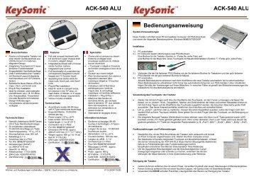 ACK-540 ALU ACK-540 ALU Bedienungsanweisung - MaxPoint