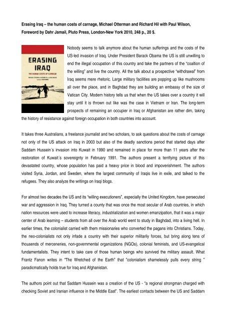 Erasing Iraq – the human costs of carnage, Michael ... - Ludwig Watzal
