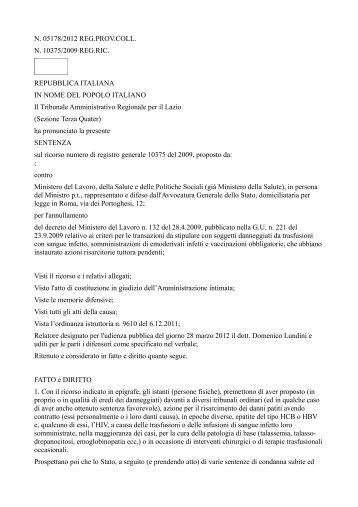 Sentenza T.A.R. del Lazio...,le nostre speranze sono ... - a.na.d.ma.
