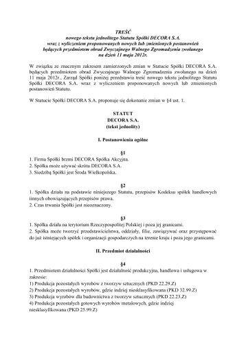 Nowy tekst jednolity Statutu Decora S.A