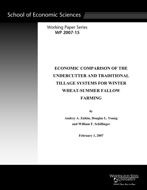 Economic Comparison of the Undercutter and Traditional Tillage ...