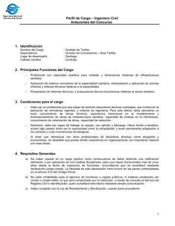 1 Perfil de Cargo – Ingeniero Civil Antecentes del Concurso 1 ... - Siss