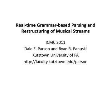 slides for the talk - Faculty Home Pages - Kutztown University