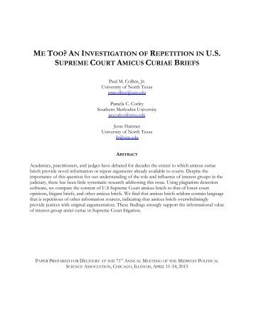 an investigation of repetition in us supreme court amicus curiae briefs